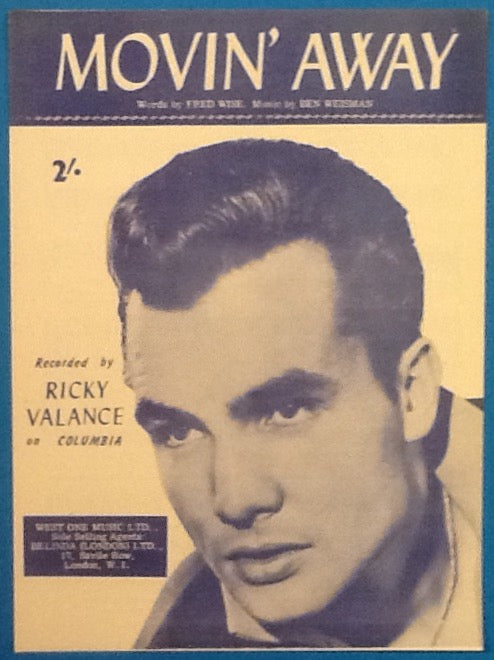 Ricky Valance Movin' Away Original Mint Sheet Music 1960