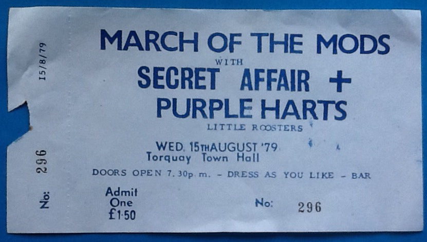 Secret Affair Original Unused Concert Ticket Town Hall Torquay 1979