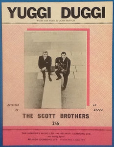 Scott Brothers Yuggi Duggi Original Mint Sheet Music 1963