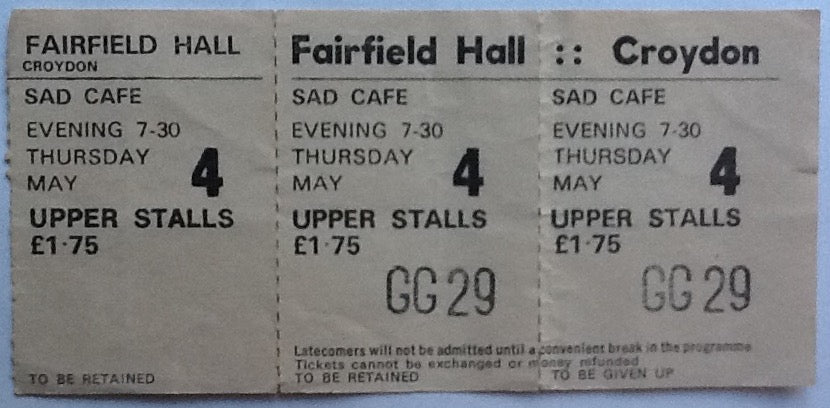Sad Cafe Original Unused Complete Concert Ticket Fairfield Hall Croydon 1978
