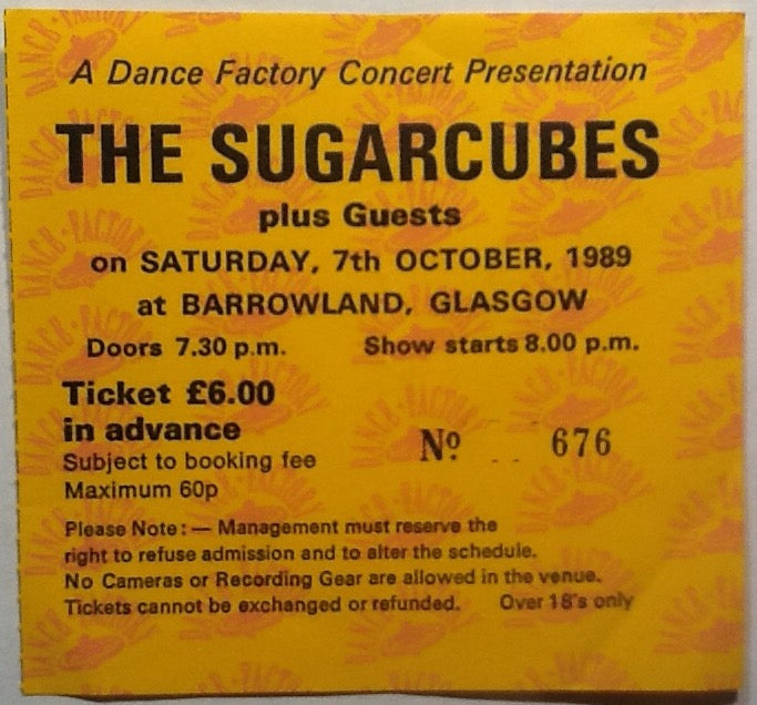 Sugarcubes Original Used Concert Ticket Glasgow Barrowlands 1989