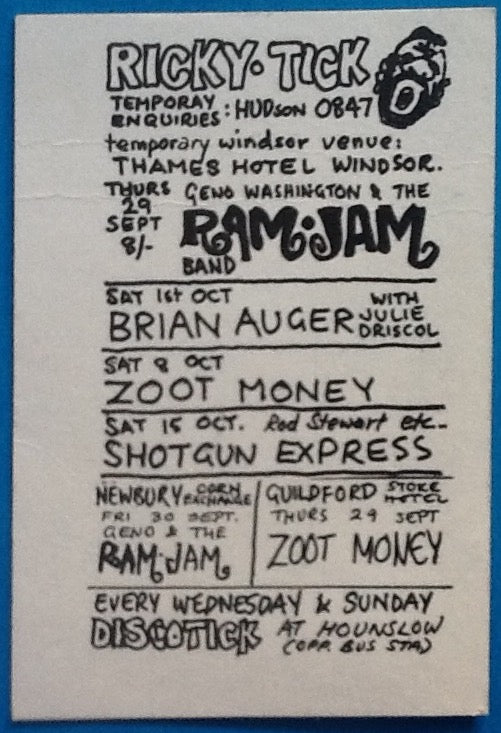 Rod Stewart Shotgun Express Original Concert Handbill Flyer Ricky Tick Club Windsor 1966