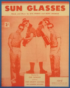 Shades Sun Glasses Original Mint Sheet Music 1958