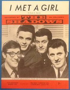 Shadows I Met A Girl Original Mint Sheet Music 1966