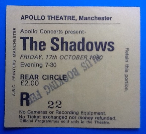Shadows Used Concert Ticket Manchester 1980