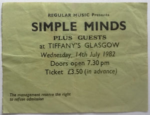 Simple Minds Original Used Concert Ticket Tiffany's Glasgow 1982