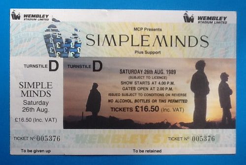 Simple Minds Original Unused Concert Ticket Wembley London 1989