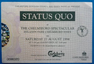 Status Quo Original Used Concert Ticket Hylands Park Chelmsford 1994