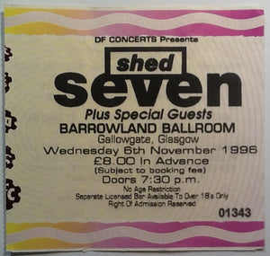 Shed Seven Original Used Concert Ticket Glasgow Barrowlands 1996