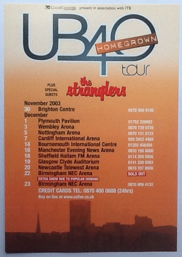 UB40 Stranglers Original Concert Handbill Flyer Home Grown Tour 2003