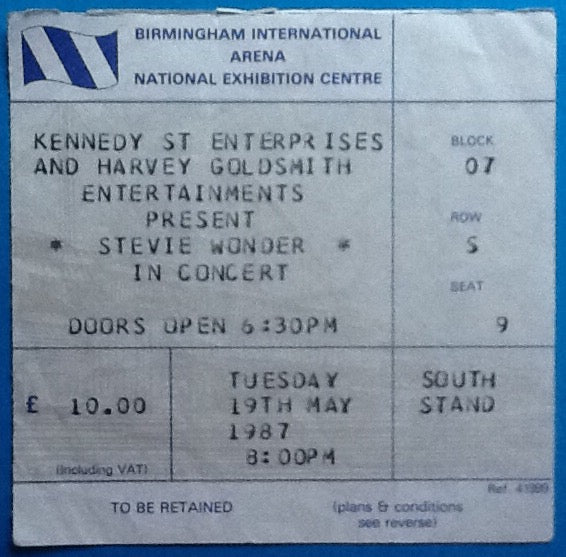 Stevie Wonder Original Used Concert Ticket Birmingham 1987