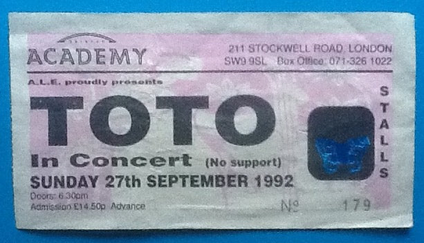 Toto Original Used Concert Ticket London 1992