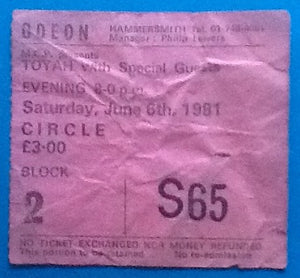 Toyah Wilcox Original Used Concert Ticket London 1981