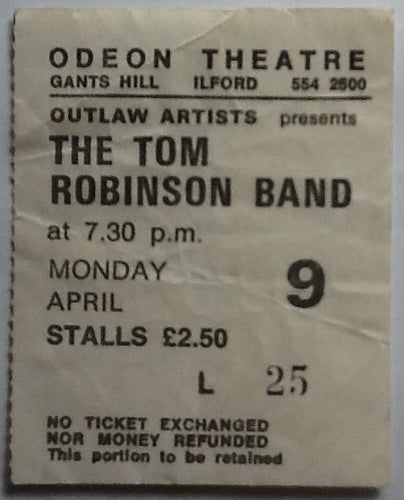 Tom Robinson Band Original Used Concert Ticket Odeon Theatre Ilford 1979