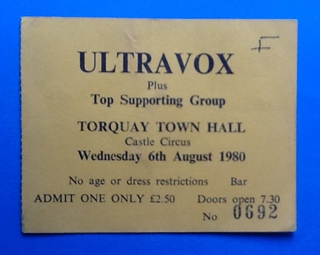 Ultravox Original Concert Ticket Torquay 1980
