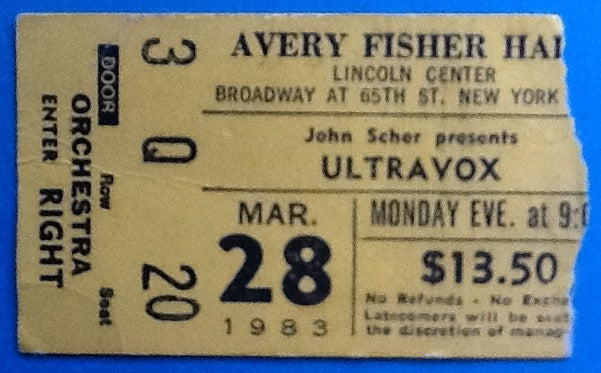 Ultravox Original Used Concert Ticket Lincoln Center New York 1983