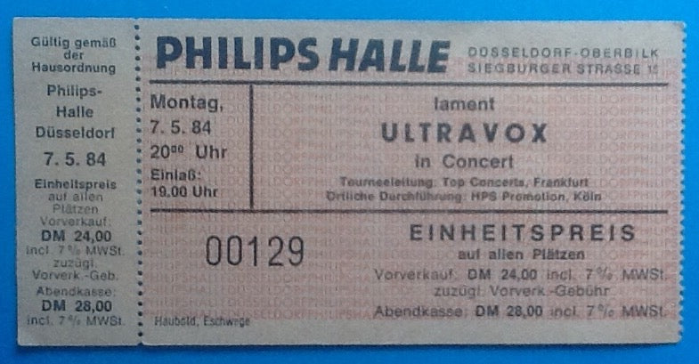 Ultravox Unused Concert Ticket  Düsseldorf 1984