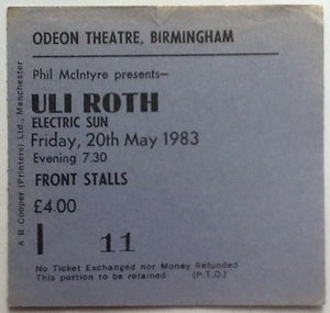 Uli Roth Original Used Concert Ticket Birmingham 1983