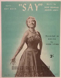Vera Lynn Say Original Mint Sheet Music 1956