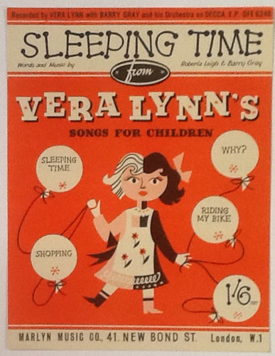 Vera Lynn Barry Gray Sleeping Time Original Mint Sheet Music 1955