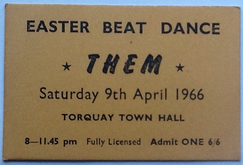 Them Van Morrison Original Used Concert Ticket Torquay Town Hall 1966