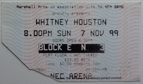 Whitney Houston Original Used Concert Ticket NEC Arena Birmingham 1999
