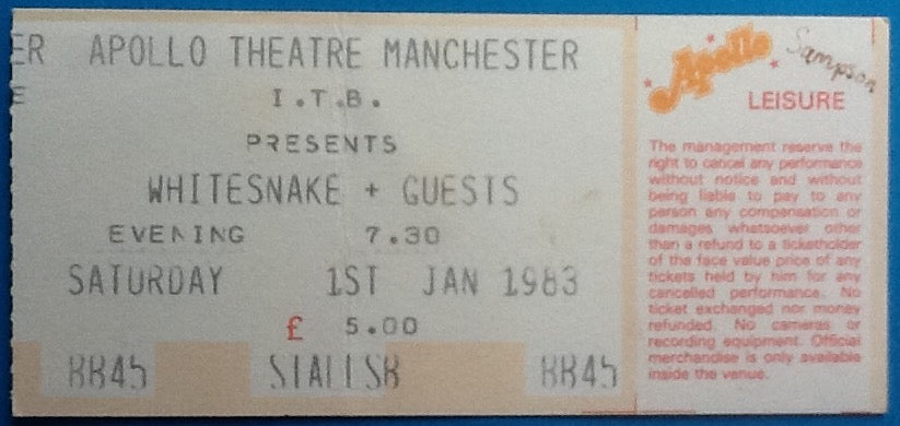 Whitesnake Original Used Concert Ticket Apollo Theatre Manchester 1983