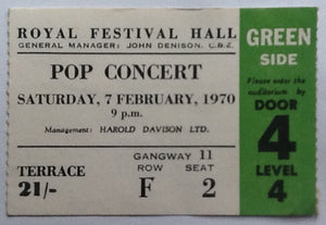 Yes The Nice Original Used Concert Ticket Royal Festival Hall London 1970