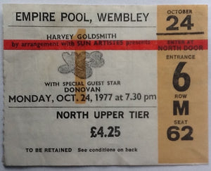 Yes Donovan Original Used Concert Ticket Empire Pool Wembley London 1977