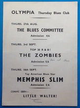 Load image into Gallery viewer, Zombies Memphis Slim Original Concert Handbill Flyer Reading 1964
