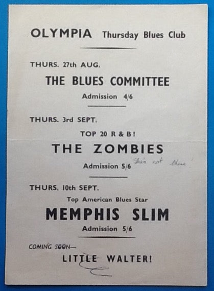Zombies Memphis Slim Original Concert Handbill Flyer Reading 1964