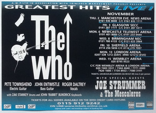 Who Original NMint Concert Tour Gig Handbill Flyer UK Tour 2000