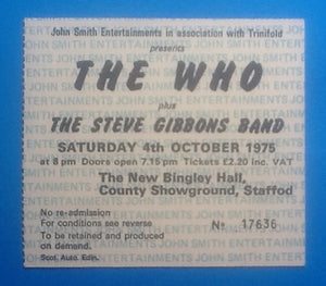 Who Original Used Concert Ticket Stafford 1975
