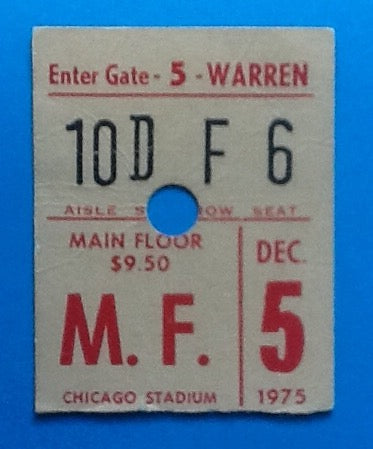 Who Used Concert Ticket Chicago 1975