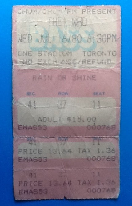 Who Used Concert Ticket Toronto 1980