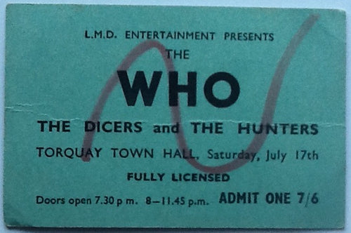 Who Original Used Concert Ticket Torquay Town Hall 1965