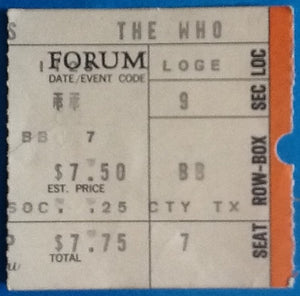Who Original Used Concert Ticket Forum Los Angeles 23 Nov 1973