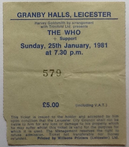 Who Original Used Concert Ticket Granby Halls Leicester 1981