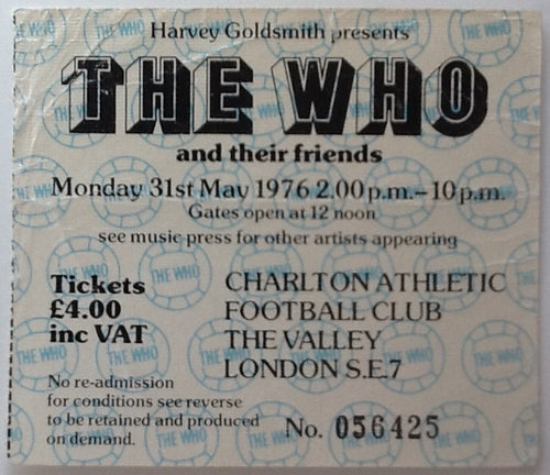 Who Original Used Concert Ticket Charlton Athletic Football Club 1976