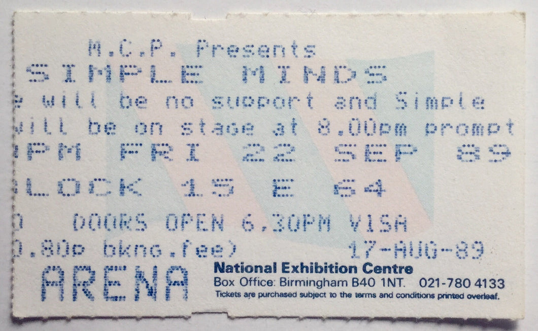 Simple Minds Original Used Concert Ticket NEC Arena Birmingham 22nd Sept 1989