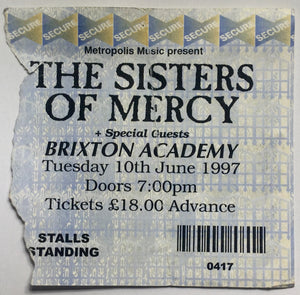 Sisters of Mercy Original Used Concert Ticket Brixton Academy London 10th Jun 1997