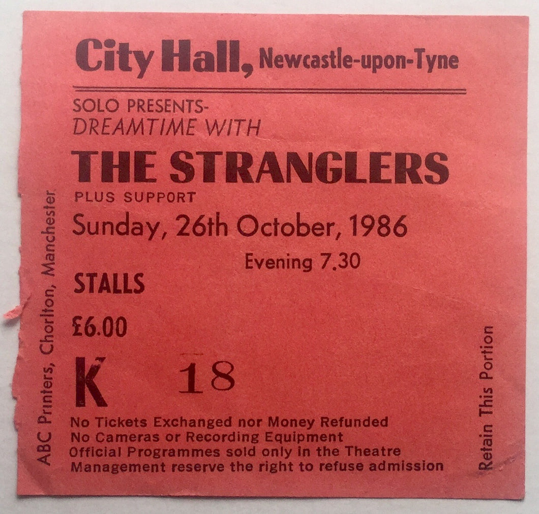 Stranglers Original Used Concert Ticket City Hall Newcastle 26th Oct 1986