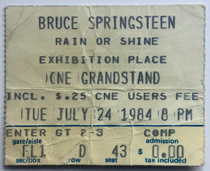 Bruce Springsteen Original Used Concert Ticket CNE Stadium Toronto 24th July 1984
