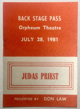 Load image into Gallery viewer, Judas Priest Original Unused Concert Backstage Pass Ticket Orpheus Theatre Boston 28th July 1981