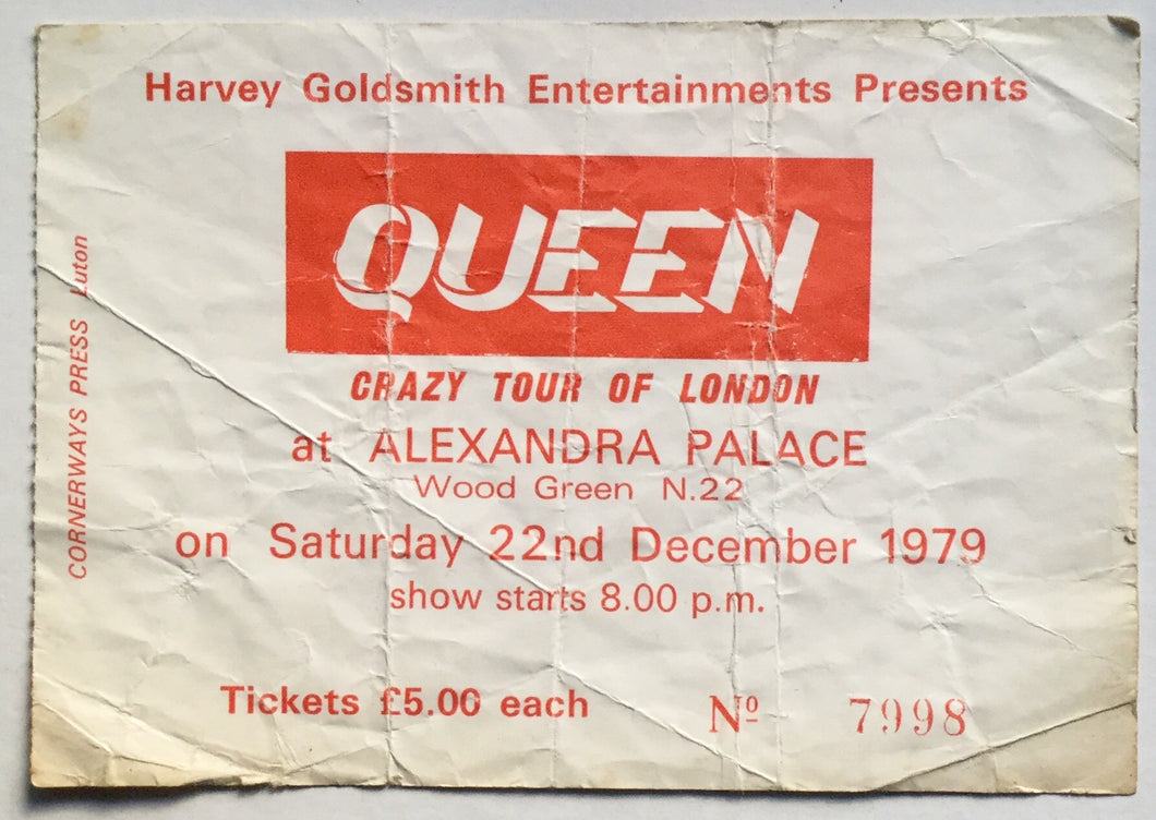 Queen Original Used Concert Ticket Alexandra Palace London 22nd Dec 1979