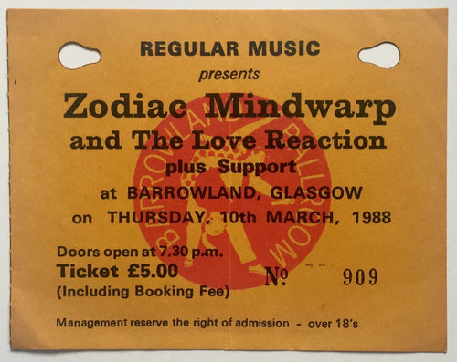 Zodiac Mindwarp & The Love Reaction Original Used Concert Ticket Barrowland Glasgow 10th Mar 1988
