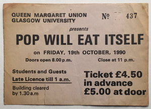 Pop Will Eat Itself Original Used Concert Ticket Glasgow University 19th Oct 1990