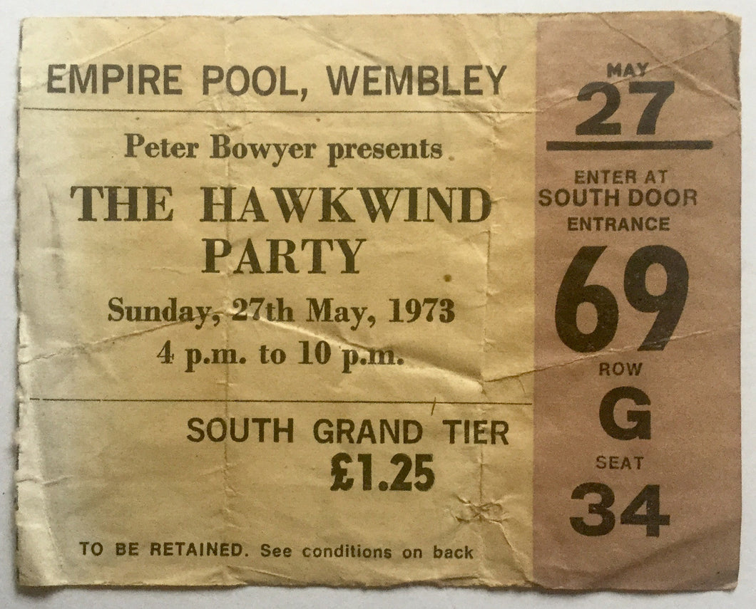 Hawkwind Original Used Concert Ticket Empire Pool Wembley 27th May 1973