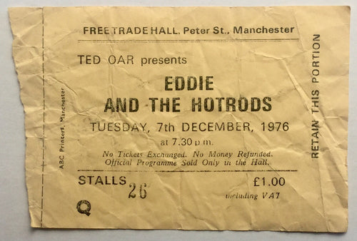 Eddie & The Hot Rods Original Used Concert Ticket Free Trade Hall Manchester 7th December 1976