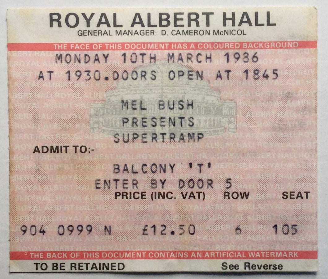 Supertramp Original Used Concert Ticket Royal Albert Hall London 10th Mar 1986